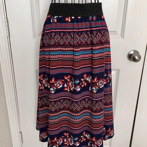 Lularoe Floral Aztec Print Skirt Maroon Floral Midi Lined Size Medium #LulaRoe #Skirt