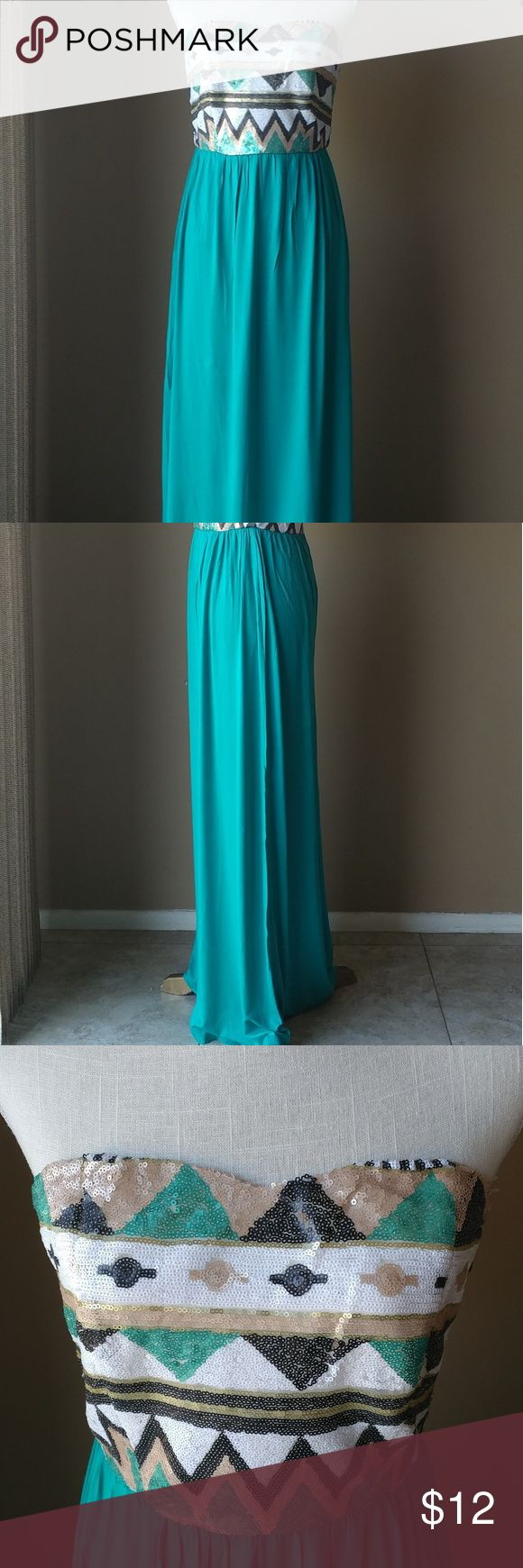 Bo Bel Turquoise Maxi Dress Turquoise maxi dress with sequins on top and zipper back. New without tags. Bo Bel Dresses Maxi