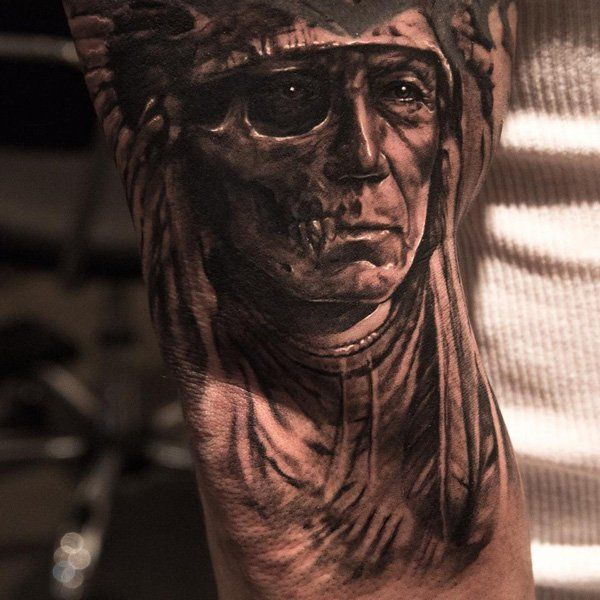 decaying-man-tattoo - 25+ Native American Tattoo Designs  <3 <3