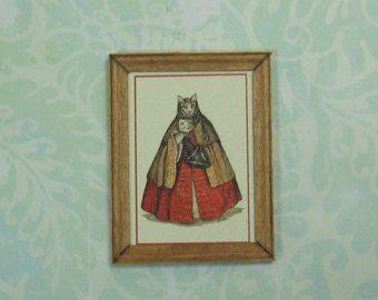 Dollhouse Miniature Framed Lady Venetian Cat Print
