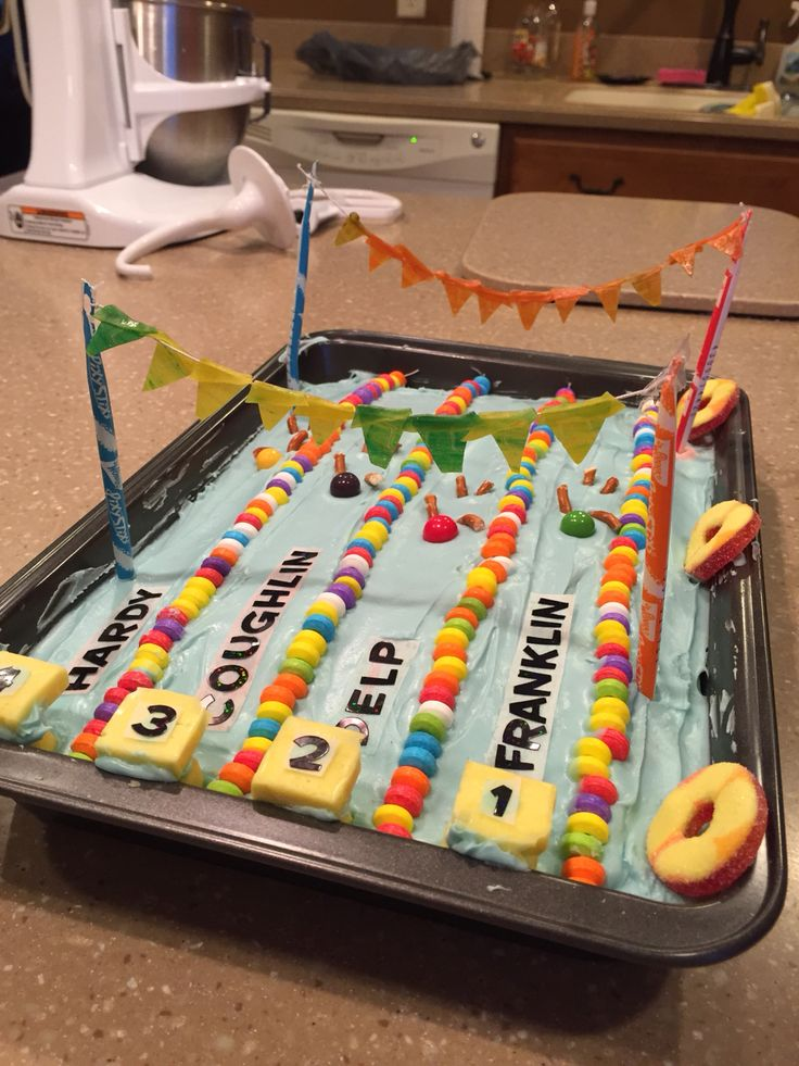 Cool Olympic swimming pool cake idea! Made by Emmy & Kim Delp