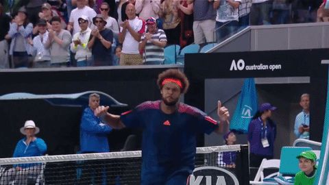 New party member! Tags: excited win tennis fist pump pumped australian open tsonga pumped up fired up aussie open day 5 australian open 2017 jo wilfried tsonga fist pumping fist pumps trademark celebration