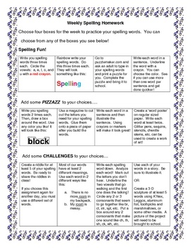 These menus are great to store in a plastic sheet protector in homework folders.  You don't have to worry about assigning spelling/word study homew...
