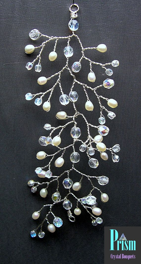 Crystal and Freshwater Pearl Bridal Hair Vine by PrismBouquets, $15.00