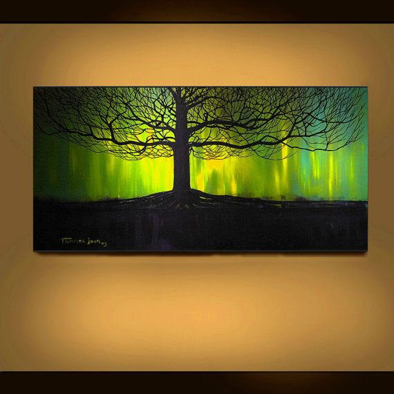 Best Trær Images On Pinterest Painting Paintings And - Black canvas painting ideas