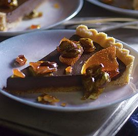 Bittersweet Chocolate Tart with Salted Caramelized Pistachios
