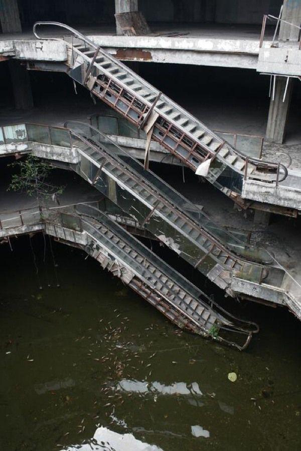 Peixes dominam shopping abandonado na Tailândia
