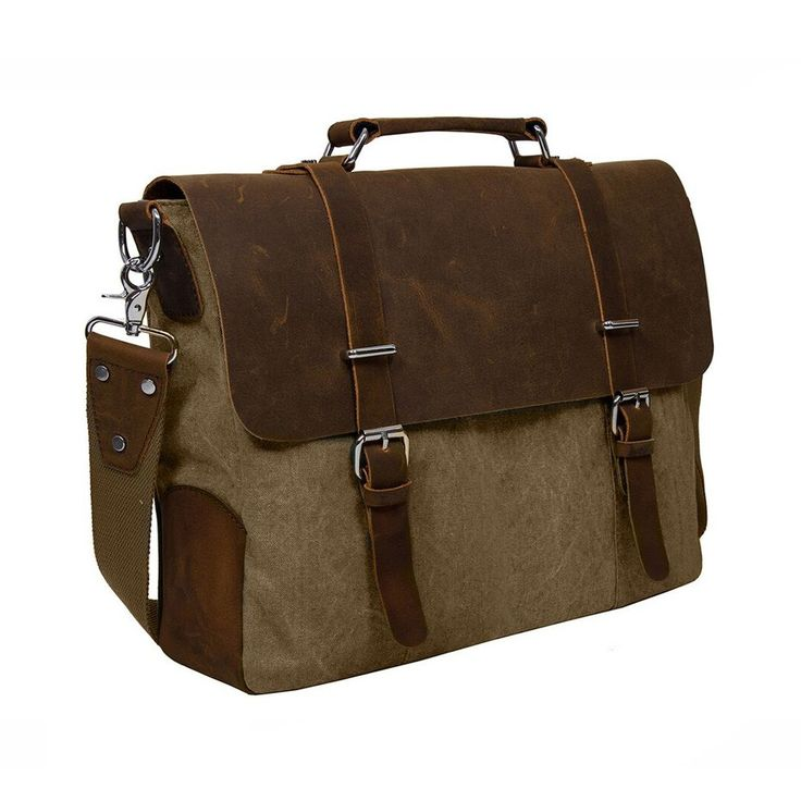 Beige vintage style canvas & leather laptop messenger bag