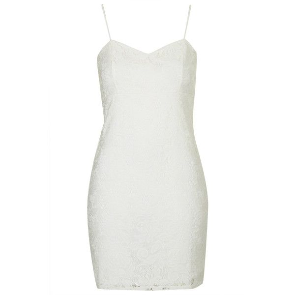 TOPSHOP Pretty Lace Tunic (885 UYU) ❤ liked on Polyvore featuring tops, tunics, dresses, topshop, cream, strappy top, bodycon tunic, lace tunic, bodycon top and cream top