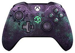 Xbox Wireless Controller - Sea of Thieves Limited Edition Microsoft  Weigh anchor and get ready to fight, sail, and loot in style with the Xbox Wireless Controller - Sea of Thieves Limited Edition. Gaze into the murky depths of the deep purple translucent design, adorned with laser etched barnacles, one treasured golden trigger, and haunted by a mysterious skull that glows at sundown. Enjoy custom button mapping and plug in any compatible headset with the 3.5mm stereo headset jack. Also…