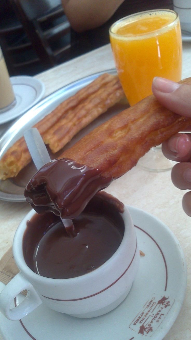 The best breakfast in Madrid! (own photo) Churros with chocolate!