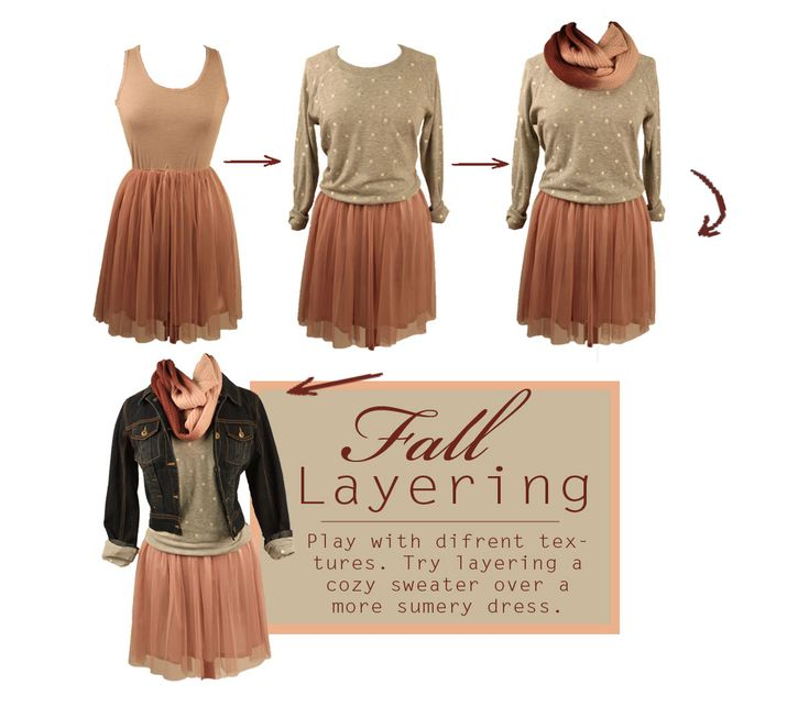 Fall layering, sweater over dress, so cute! I like the delicate chiffon with the stiff denim.