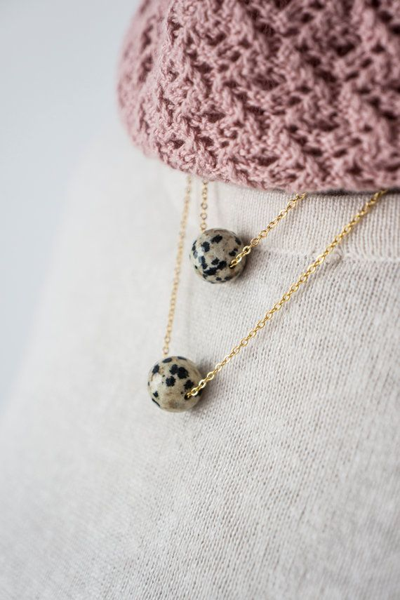 Dalmatian Jasper Necklace, Layering Necklace, Layered Necklace, Layer Necklace, Gold Necklace, Gemstone Necklace, Gift For Her
