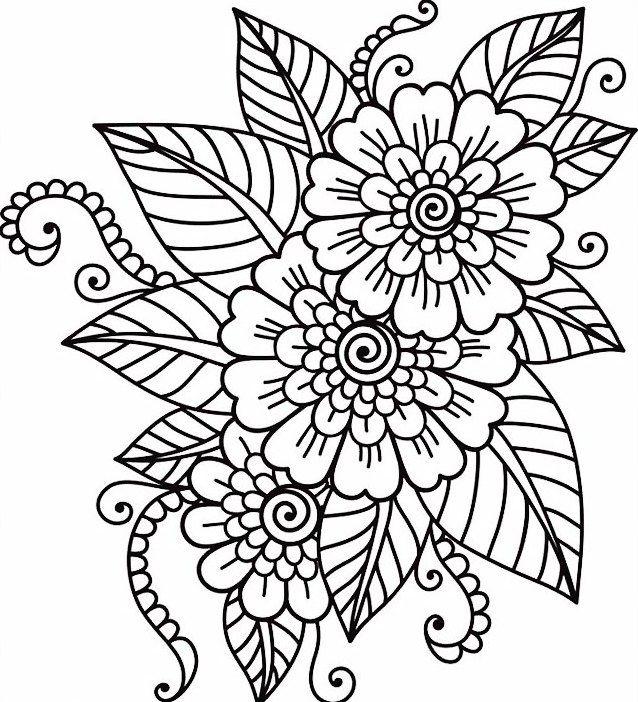 Gambar Bunga Hitam Putih  pesonadunia  Flower coloring