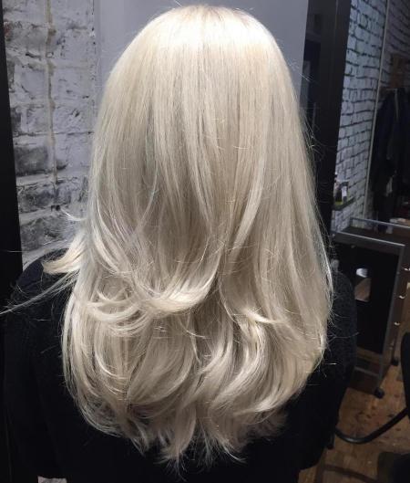 Long White Blonde Layered Hair