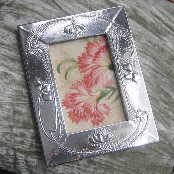 Handmade Silver Pewter Frame in Art Nouveau Style by coatiMonday, $52.00