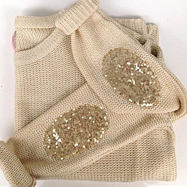 Tan Sweater with glitter elbow patches