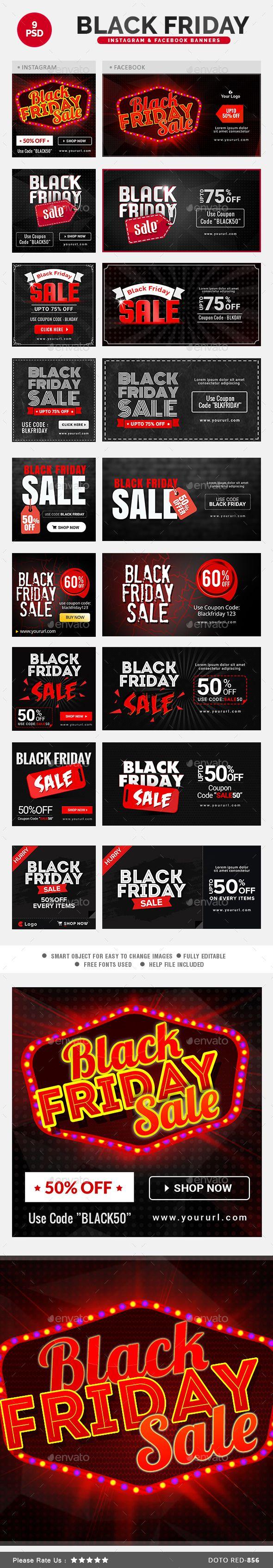 Black Friday Sales Instagram & Facebook Banners Template PSD #design Download: http://graphicriver.net/item/black-friday-sales-instagram-facebook-banners/13695866?ref=ksioks