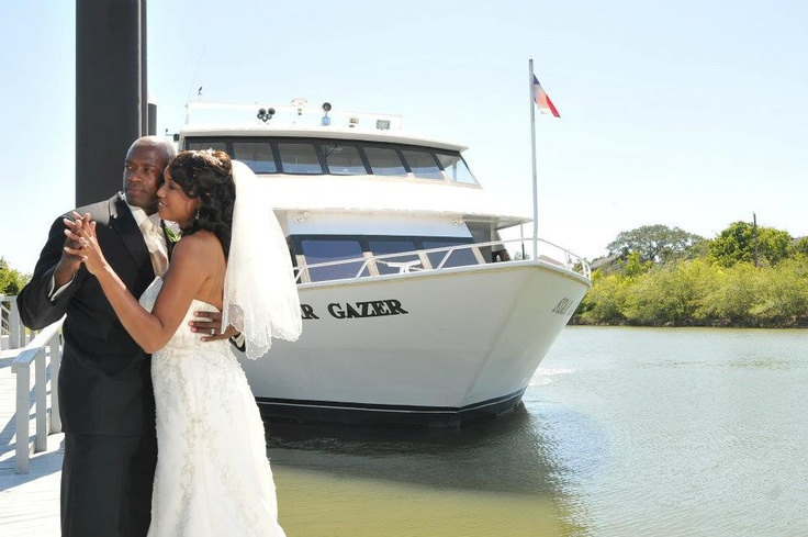 Wedding on our Star Gazer!   Select #StarFleetYachts for your #wedding in #Kemah, #Texas. We make your wedding day memorable by providing quality #food and #awesome #floral #decoration. Book us now for your #wedding. www.starfleetyachts.com
