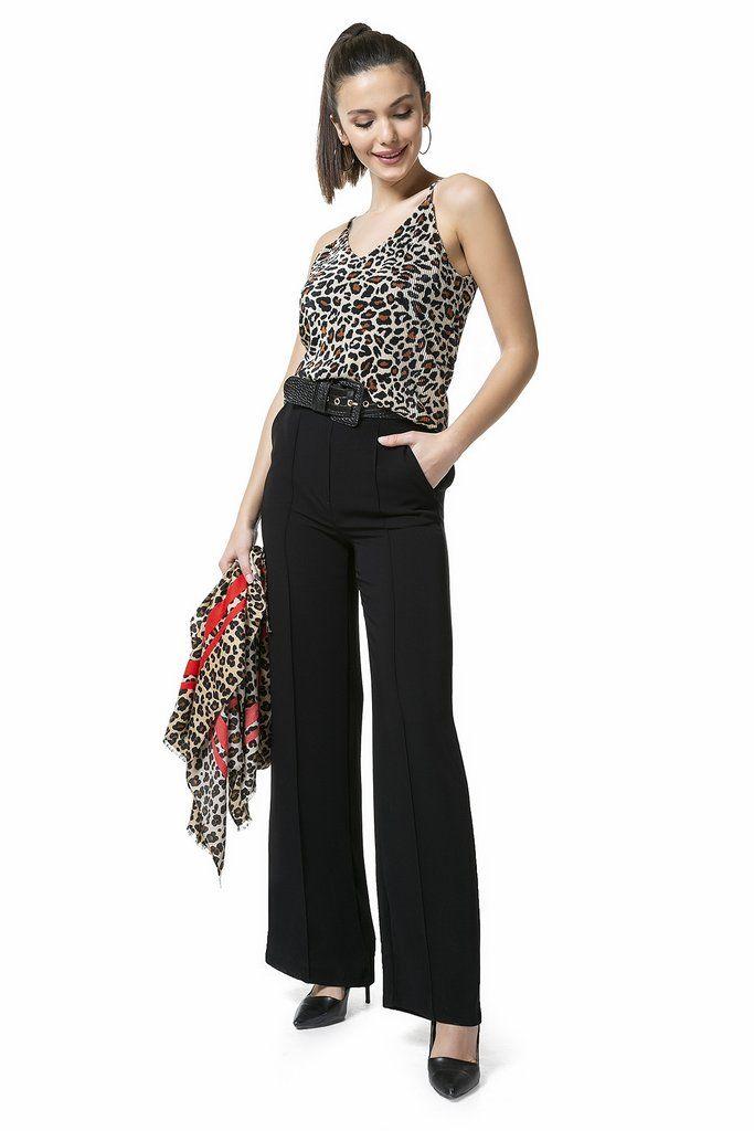 بنطلون أسود بأرجل واسعة و خصر الاستيك Womens Tunic Dress Womens Tunics Fashion
