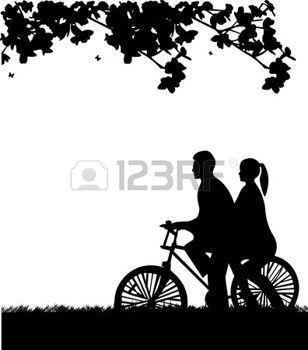 Jazda+na+rowerze+para+w+parku+w+sylwetce+wiosennej%2C+jeden+z+serii+podobnych+zdj%C4%99%C4%87