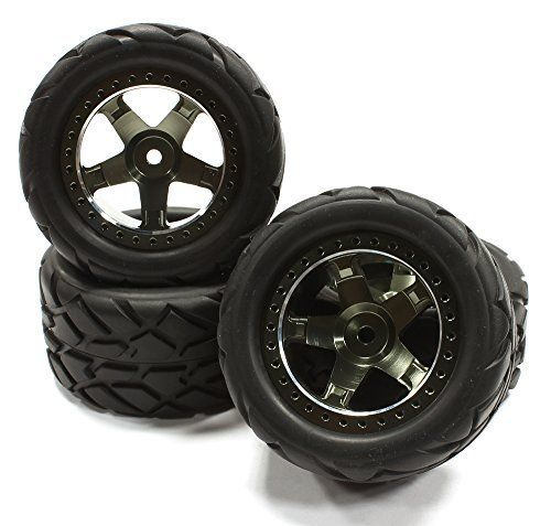 Integy RC Hobby T3462GUN Billet Machined Wheel  Tire Set 4 for 116 ERevo  Slash VXL OD71mm >>> See this great product.
