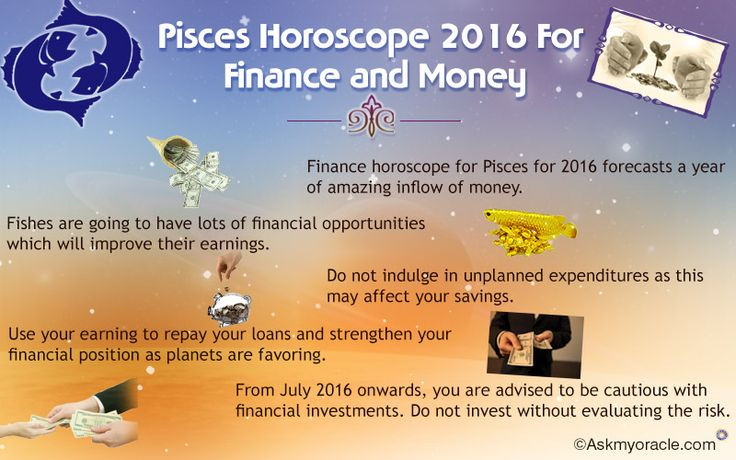 Free financial astrological horoscope for #Pisces sun sign is concerned, the yearly #predictions for #2016 suggest that you do not need to worry about the inflow of money.
