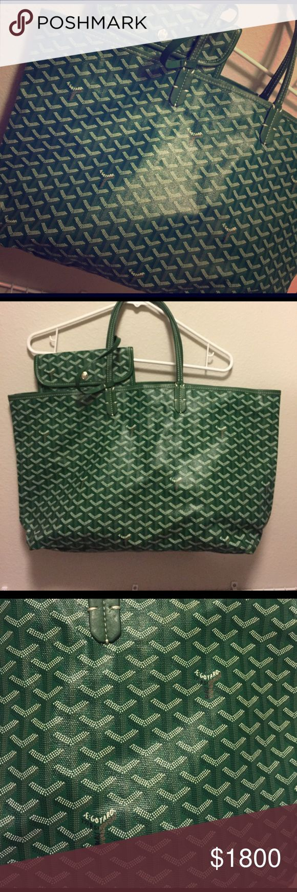 Goyard tote bag Never-worn Goyard classic chevron St. Louis gm tote bag with matching wallet attached. Goyard Bags Shoulder Bags