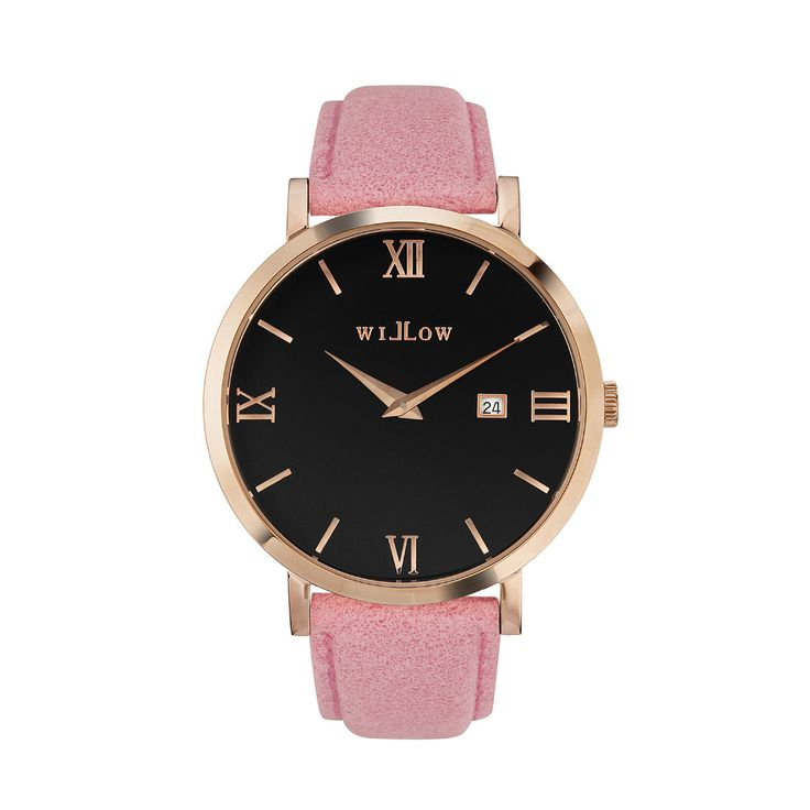 Roma Rose Gold Watch & Interchangeable Pink Leather Strap.