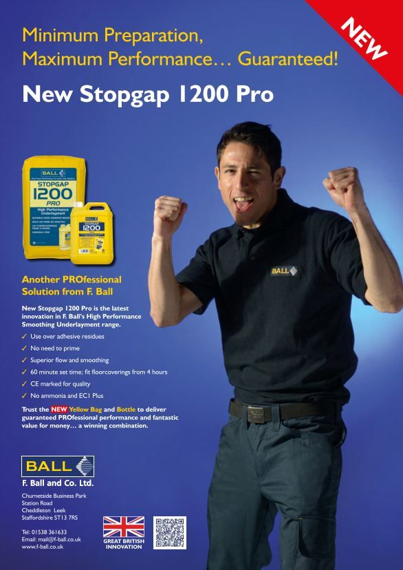 F Ball and Co report that its new smoothing underlayment, Stopgap 1200 Pro, we used to create a professional, hygienic floor in the Ainsley Ward of Longton Cottage Hospital, Stoke-on-Trent. This low odour smoothing underlayment is said to be suitable for use over old adhesive  residues, without priming being needed.  http://www.f-ball.info/1200-pro-in-action-at-longton-cottage-hospital/