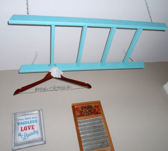 Laundry Ladder Clothes Drying Rack In Turquoise