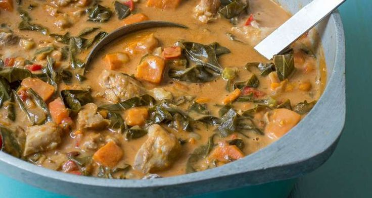 Virginia Willis' West African Chicken Stew with Collard Greens and Peanuts