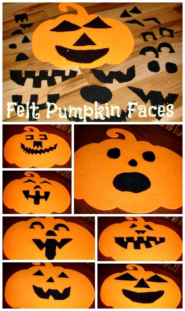 DIY Felt Pumpkin Faces DIY Fall Crafts DIY Halloween Decor Could be a fun busy bag for toddlers...