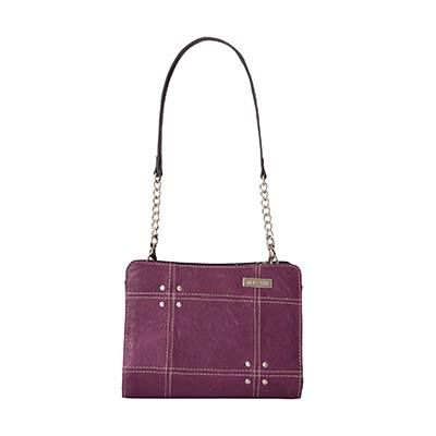 Pippa Pippa's lightly-textured faux leather in medium orchid purple will make your heart beat a little faster. When you see this Mini Shell's whimsical contrasting geometric stitching detail and perfectly-placed rivet accents, you'll completely fall in love!
