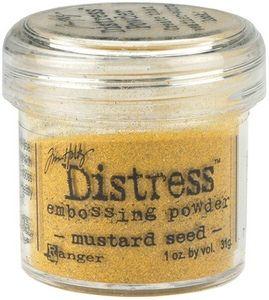 Distress Embossing Powder - Mustard Seed Det er en ny revolusjon i embossing pulver! Tim Holtz Distress Embossing Pulver er ideell for Distress blekk. Pulver har en spesiell funksjon som skaper et matt strukturert utseende fra en svunnet tid med sandpapir følelse.Resultatet blir et røft og slitt utseende, det vi kaller for en Vintage effekt. Krystallene er tyngre enn selve embossingpulveret, og legger seg derforpå bunn i boksen.Rist derfor alltid boksen godt før bruk, slik at kry...