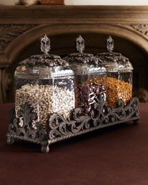 Beaded Glass Kitchen Canister Set With Antique Base And Finials