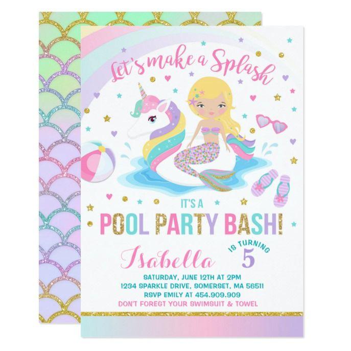 Unicorn Mermaid Pool Party Birthday Invitation Custom Babyshower Invitations