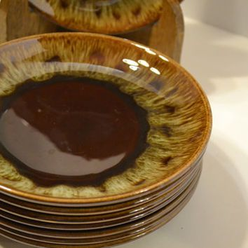 Vintage Brown Drip Glaze Side Plates Set of 8 USA Pottery Hull McCoy PanchosPorch