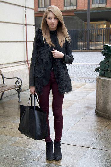 Leather sleeves (by Pavlina J.) http://lookbook.nu/look/3172529-leather-sleeves