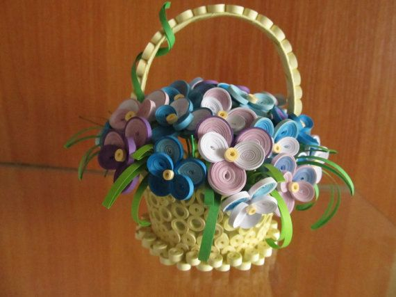 Quilling - basket with violets, handmade home decor, 3D quilling