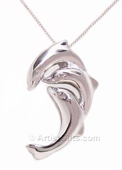 Sterling Silver Dolphin Necklace with 3 Playful Dolphins. A nice dolphin gift idea!