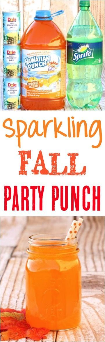 Orange Party Punch Recipes!  This sparkling Autumn drink recipe has a delicious splash of pineapple and will be the hit of your Fall parties!  Just 3 Ingredients!