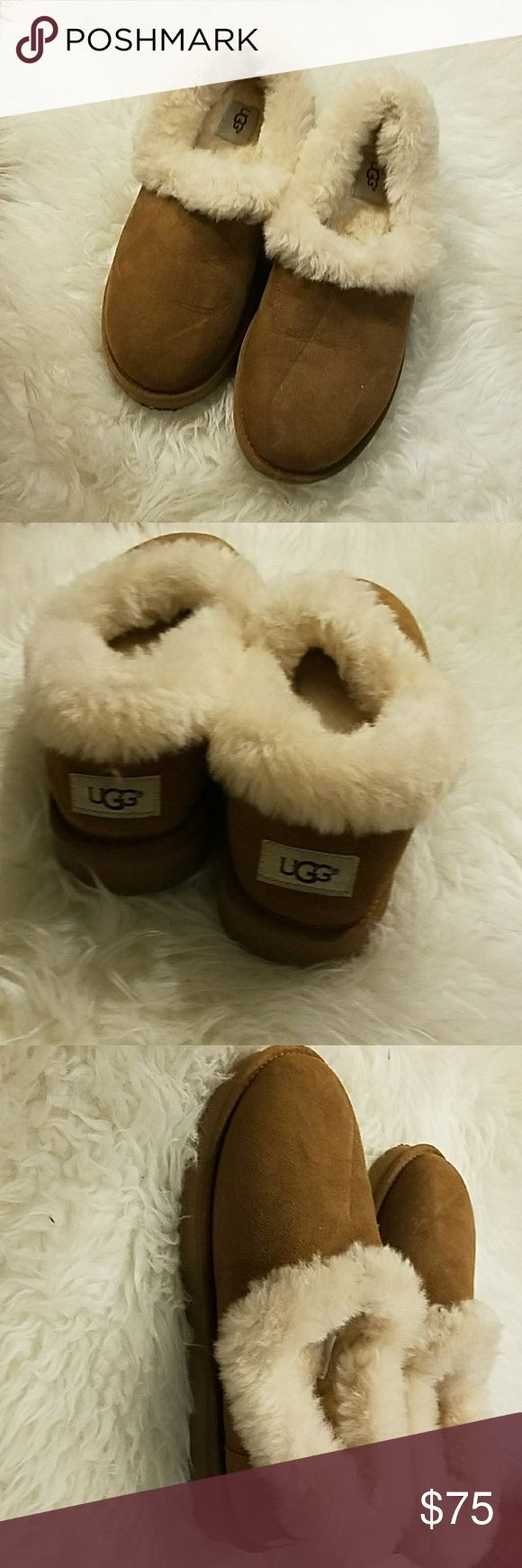 UGG Nita  slippers UGG Nita Sheepskin Slipper Chestnut .Durable EVA outsole. Almost New. ONLY WORN TWICE. (with socks) . Small tear barely visible as pictured.  Narrow opening UGG Shoes Slippers