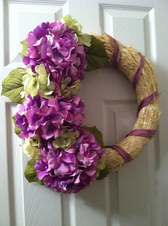 Purple / Green Hydrangea Straw Wreath, Hydrangea Wreath, Straw Wreath, Spring Wreath on Etsy, $65.00