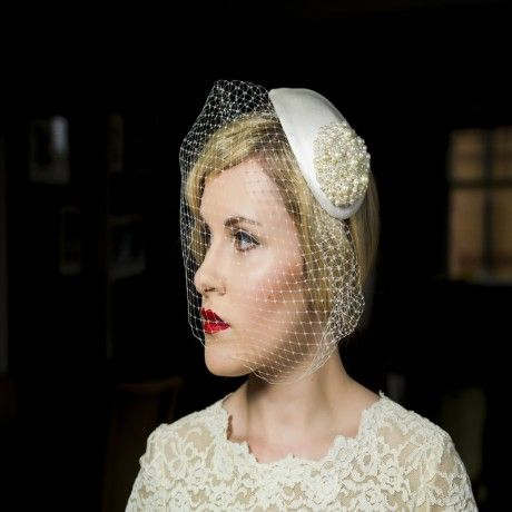 Sycamore - a stunning statement headpiece with detachable veil.  Available in pearl or diamante option