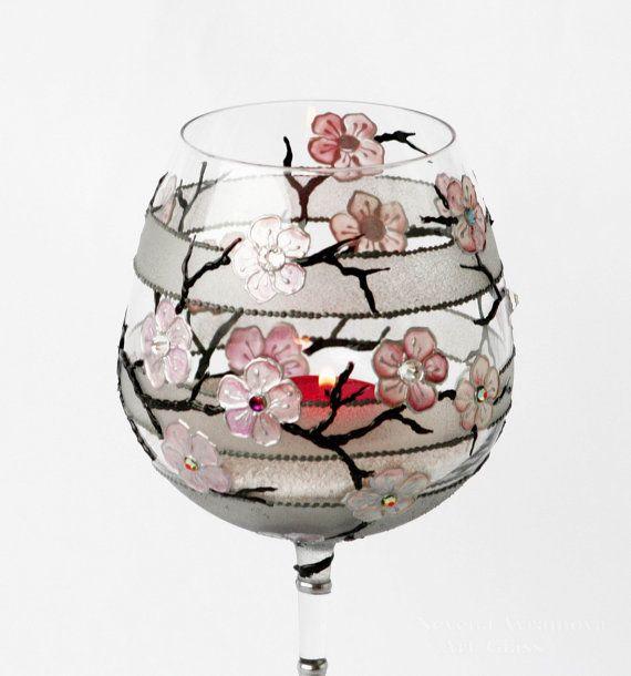 Baloon Wine Glass  Hand Painted Tea Light Candle by NevenaArtGlass, $34.80