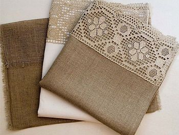 Linen and lace guest towels.