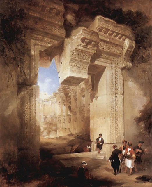 David Roberts (1796-1864), The Entrance to the Golden Temple in Baalbeck - 1841.