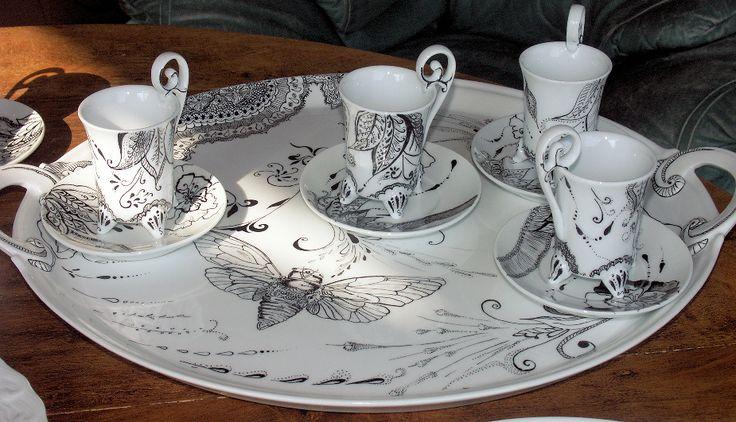 Art de la table porcelaine pates yvette grasset artiste for Decoration sur porcelaine