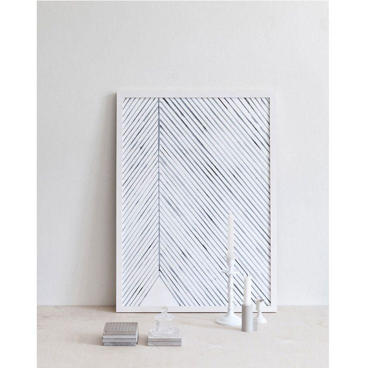 Leaf Lines Blue | Unframed Print | The Block Shop